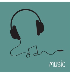 Black headphones with cord in shape of note music vector