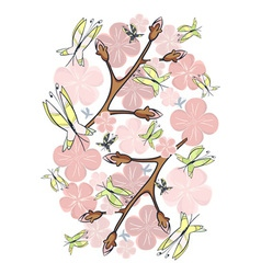 Pink blossom and butterflies vector
