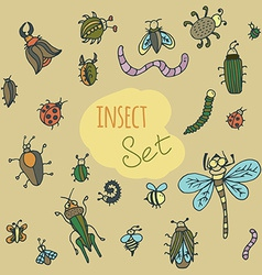Set of cute cartoon insect vector