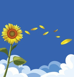 Sunflower sky background vector
