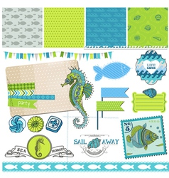 Tropical fish and sea horse theme vector