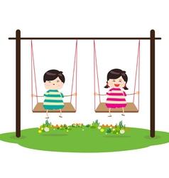 Children on swing vector