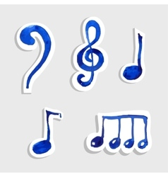Music note icon on sticker set vector