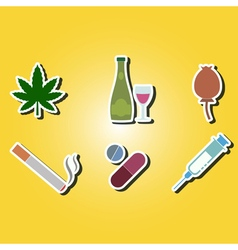 Color icons with symbols of drug addiction vector