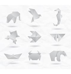 Origami white animals vector