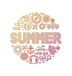 Summer lettering with linear icons and signs vector