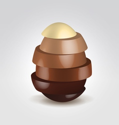 Chocolate slices made egg shape vector