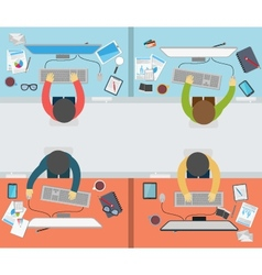 Office worker activity on flat style vector