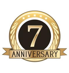 Seven year anniversary badge vector