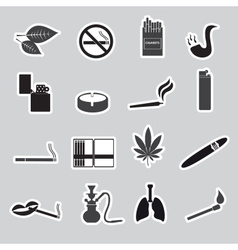 Smoking and cigarettes simple black stickers set vector