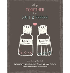 Cute salt and pepper wedding invitation card vector