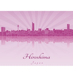 Hiroshima skyline in purple radiant orchid vector