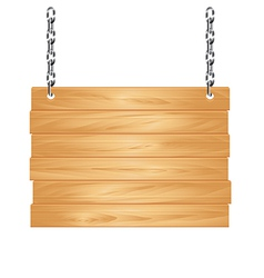Object wooden sign on the chains vector