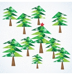 Green christmas fir trees background vector