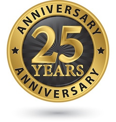 25 years anniversary gold label vector