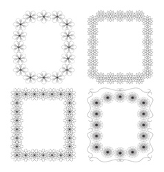 4 black geometric frames vector