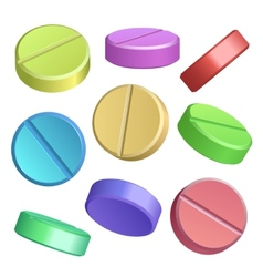 Set of color pill icons vector