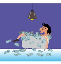Businessman lying on the money vector