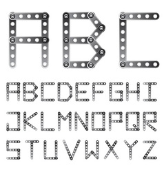 Metal screwed alphabet font vector