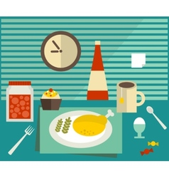 Food and drink on the table vector