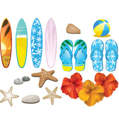 Beach and tropical elements vector