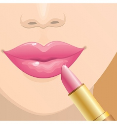 Applying lipstick vector