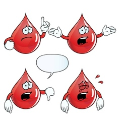 Crying blood drop set vector