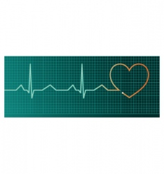 Heart pulse monitor red heart vector
