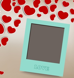 Blank instant photo on background with heart vector