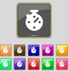 Timer stopwatch icon sign set with eleven colored vector