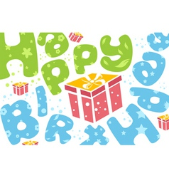 Happy birthday card with present vector
