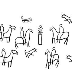 Ancient cave drawings vector