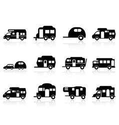 Caravan or camper van symbol vector