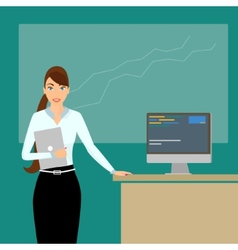 Business coach at lecture time vector