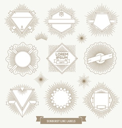 Set of line design emblem and hipster labels vector