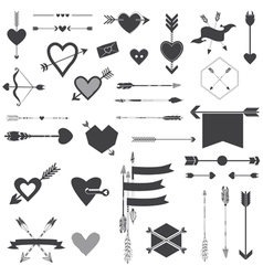 Hearts and arrows set vector