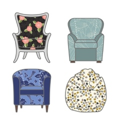 Set of colorfull and patterned armchairs vector
