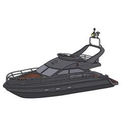 Black motor yacht vector