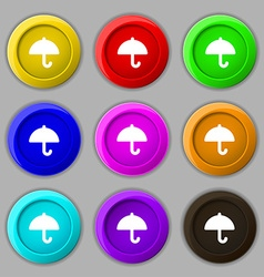 Umbrella icon sign symbol on nine round colourful vector