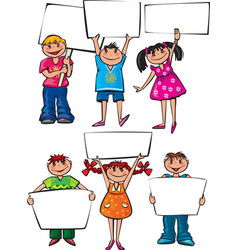 Kids holding blank placard boards vector