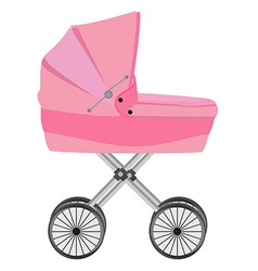 Pink baby carriage vector