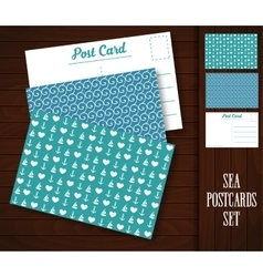 Postcard with sea patterns vector