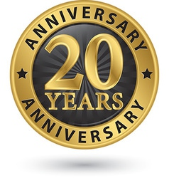 20 years anniversary gold label vector