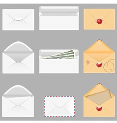 Set icons paper envelopes vector