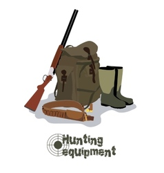 Set of military hunting equipment with rifle vector