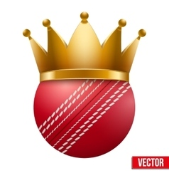Cricket ball with royal crown vector