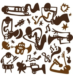 Jazz musicians play on tubes vector