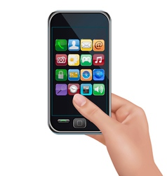 A hand holding touchscreen mobile phone with icons vector