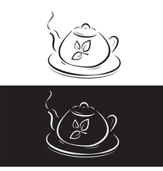 Teapot with leaves symbol isolated on black and wh vector