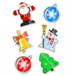 Set sticker for christmas vector